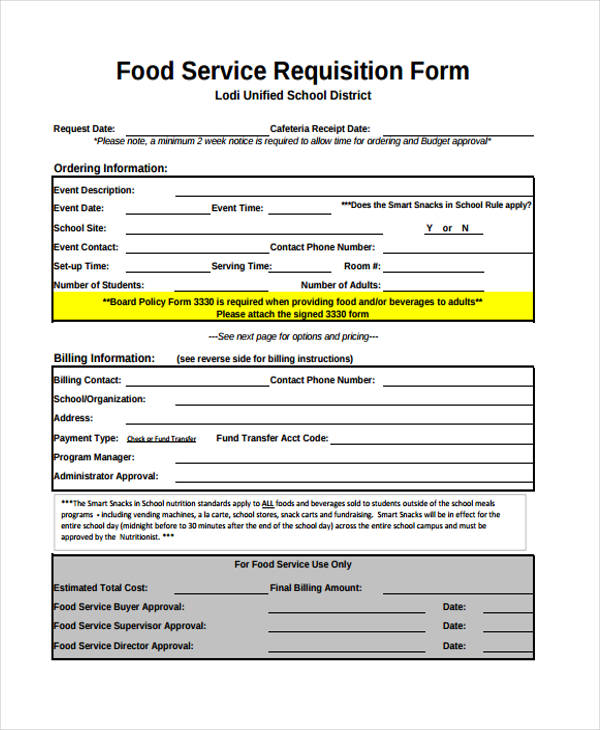 food service requisition form1