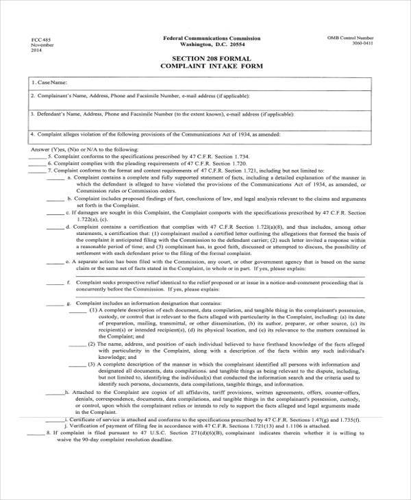 formal complaint register form