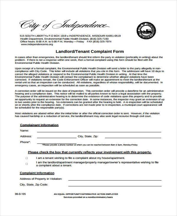 formal landlord complaint form