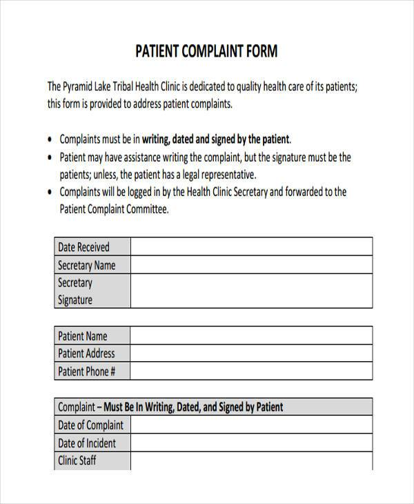 formal patient complaint form