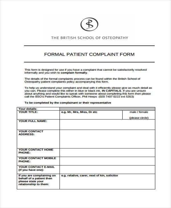 formal patient complaint form1