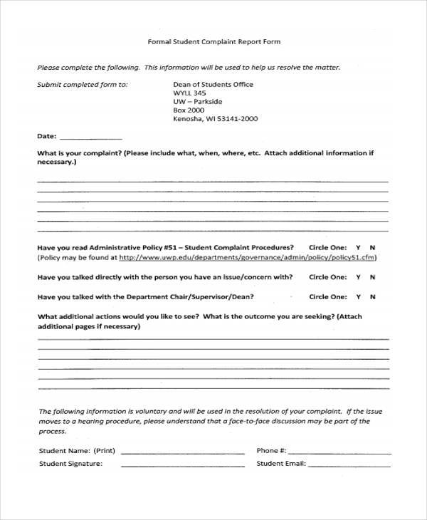 formal student complaint report form