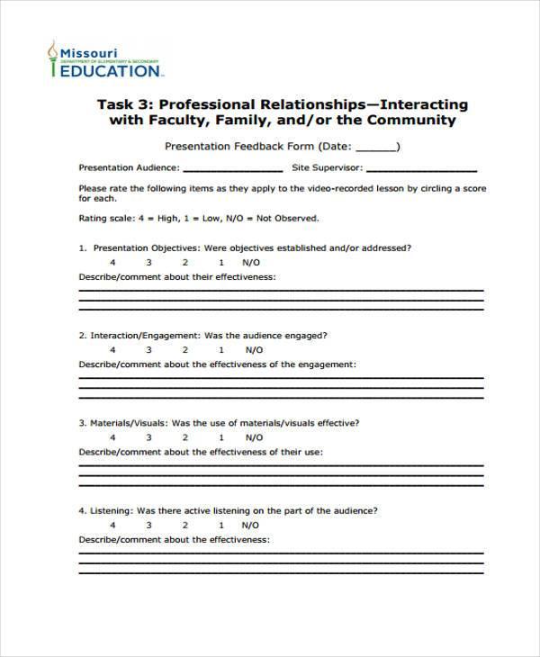 Feedback Form Templates – Presentation Feedback Form