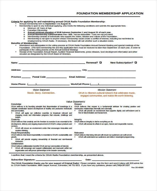foundation membership application form