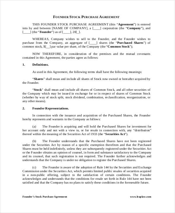 founder stock purchase agreement form