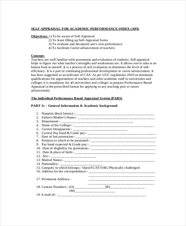 free acadamic self appraisal form