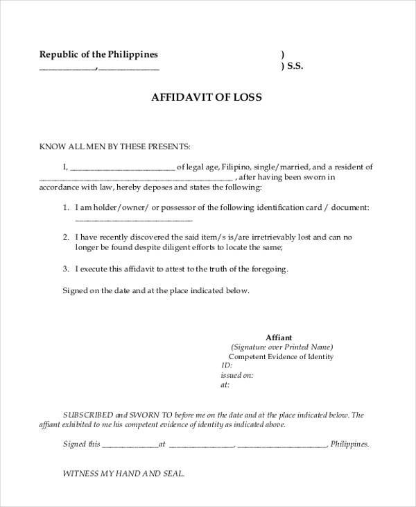 Affidavit Of Loss Template Affidavit of Loss Form Printable – Affidavit of Loss Template