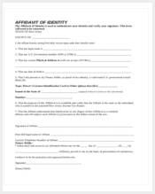 free affidavit of identity form