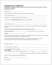 free affidavit of identity form2