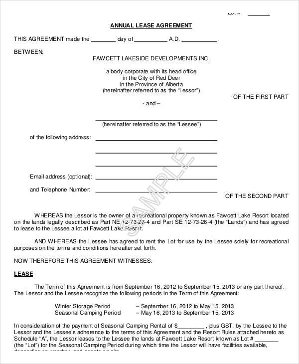 free annual lease agreement