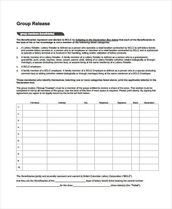 free beneficiary release form sample