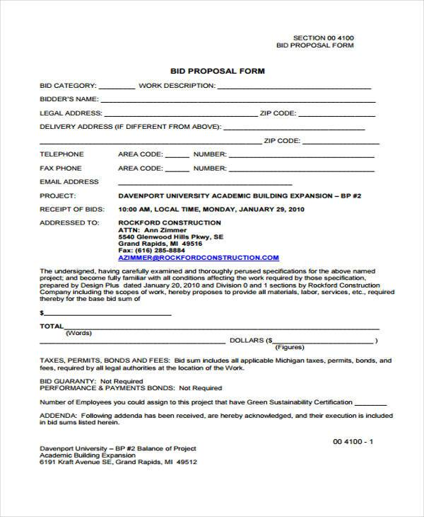 Proposal Form Templates – Proposal Form Template