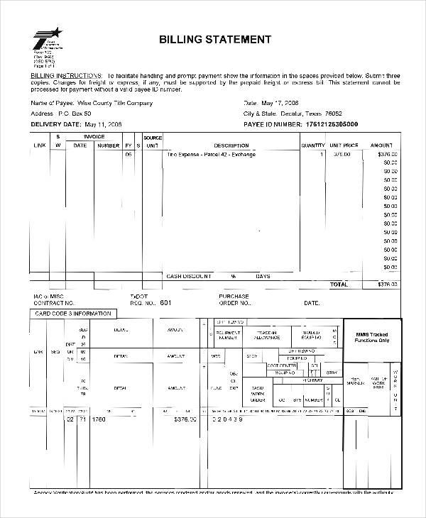 free billing statement form1