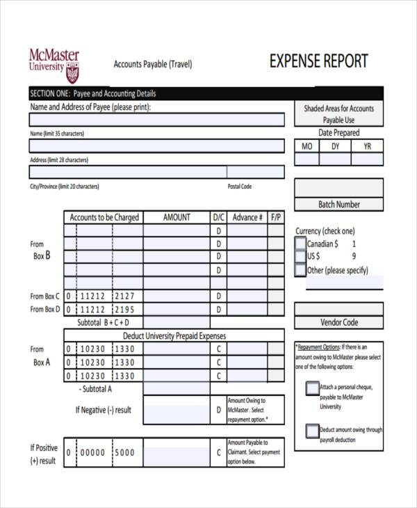 Free Expense Forms – Blank Expense Report