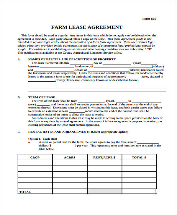 Printable Lease Agreement Free Copy Rental Lease Agreement – Sample Blank Lease Agreement