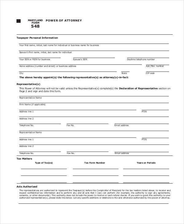 Power of Attorney Form – Blank Power of Attorney Form