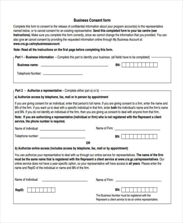 free business consent form