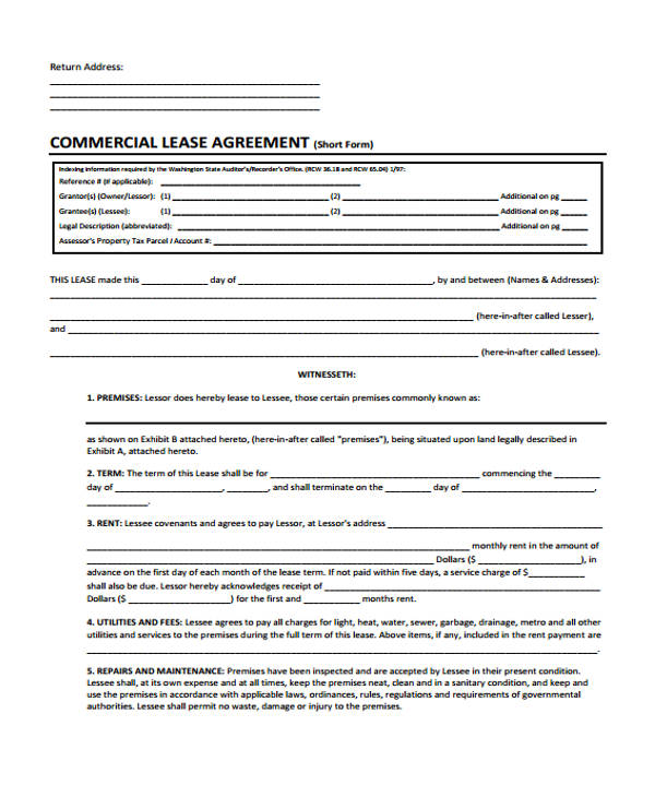 40 sample lease agreement forms sample business lease agreement forms commercial business lease flashek Choice Image