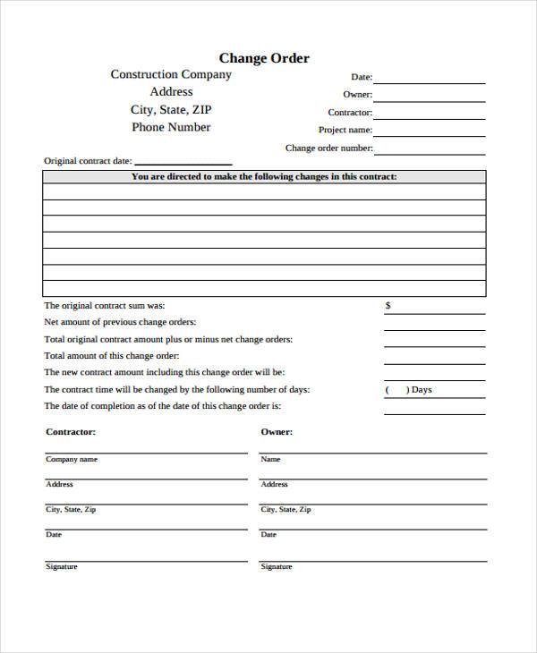 free change order form