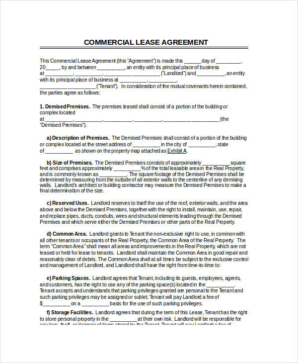 free commercial lease agreement form1