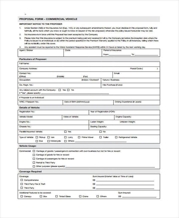 free commercial vehicle proposal form