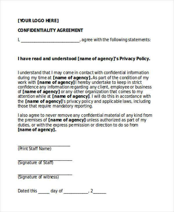 free confidentiality agreement form
