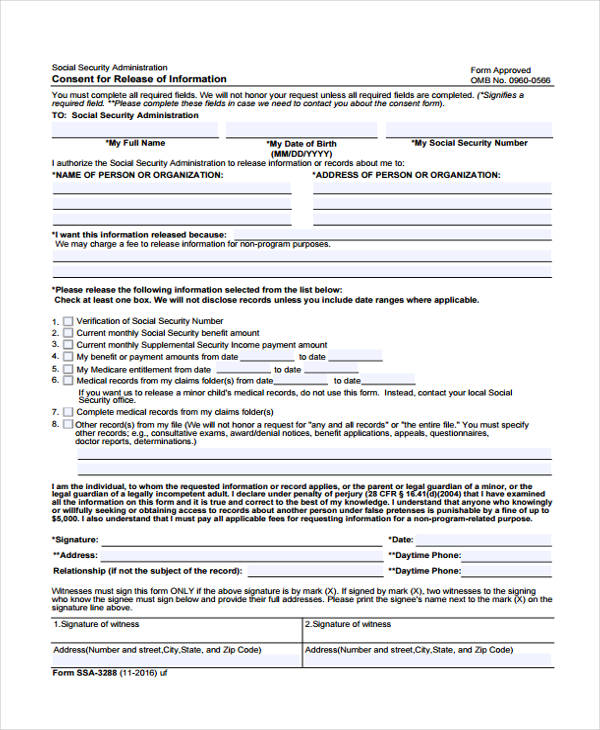 free consent release information form