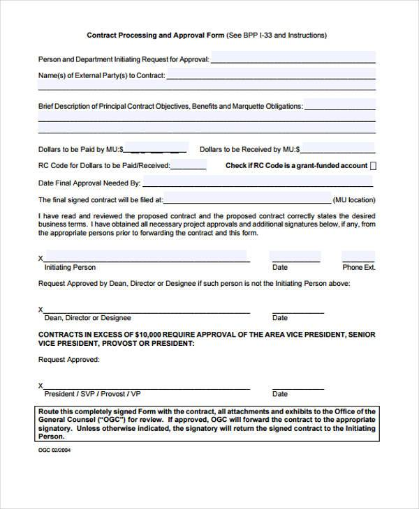 free contract approval form