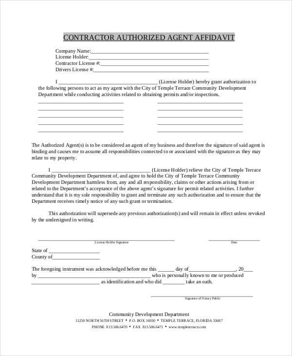 free contractor agent affidavit form