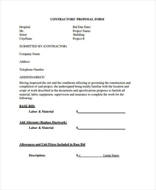 Free Proposal Forms Free Investment Proposal Form Proposal Form