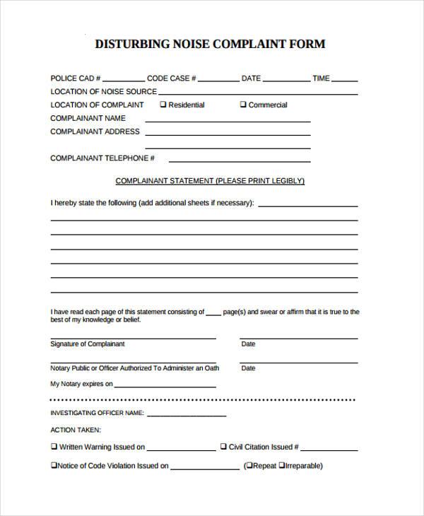 free disturbing noise complaint form