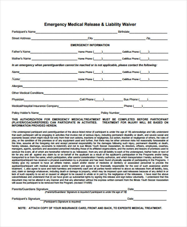 free emergency medical release form