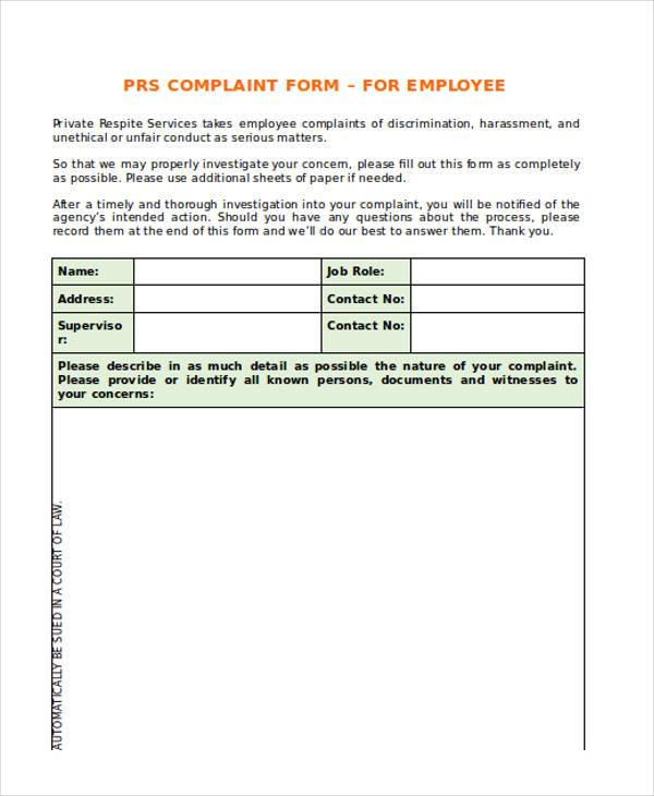 Employee Complaint Form Example Of Employee Complaint Form