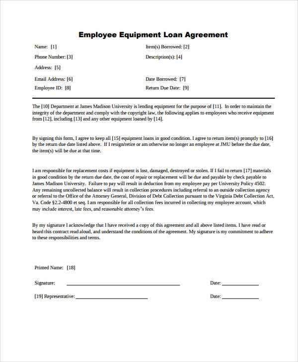 Free Employee Equipment Loan Agreement