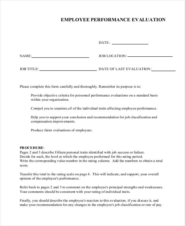 free employee performance evaluation form1