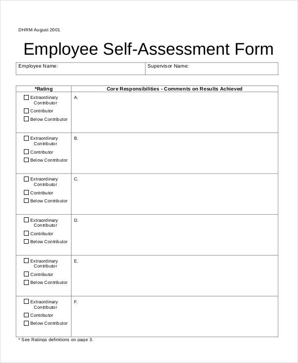 Self assessment form for Self assessment templates employees