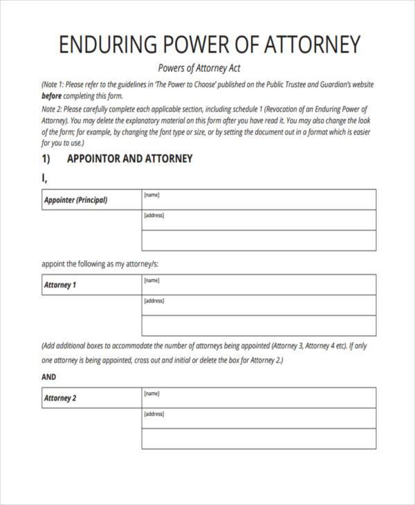 free enduring power of attorney form