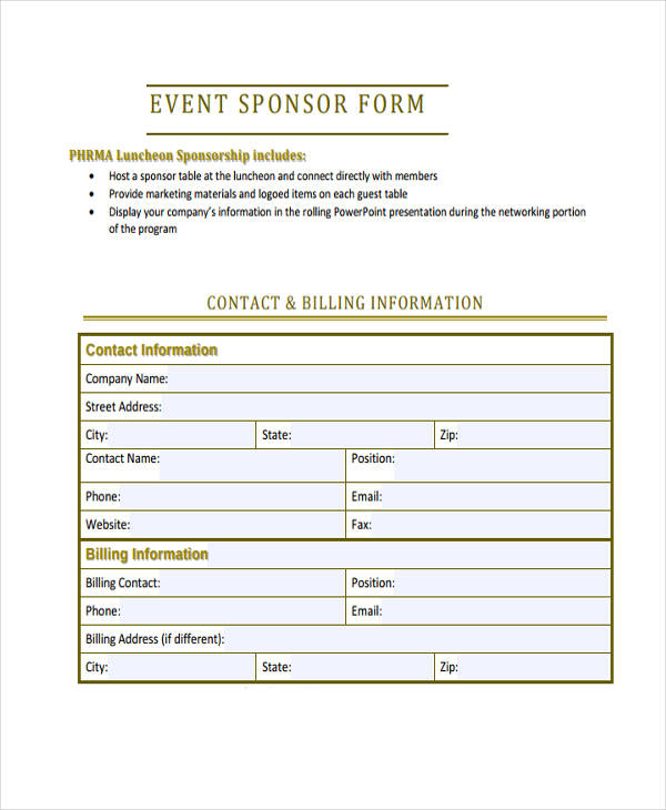 Template Sponsorship Form Free Sponsorship Form Template Wordblank