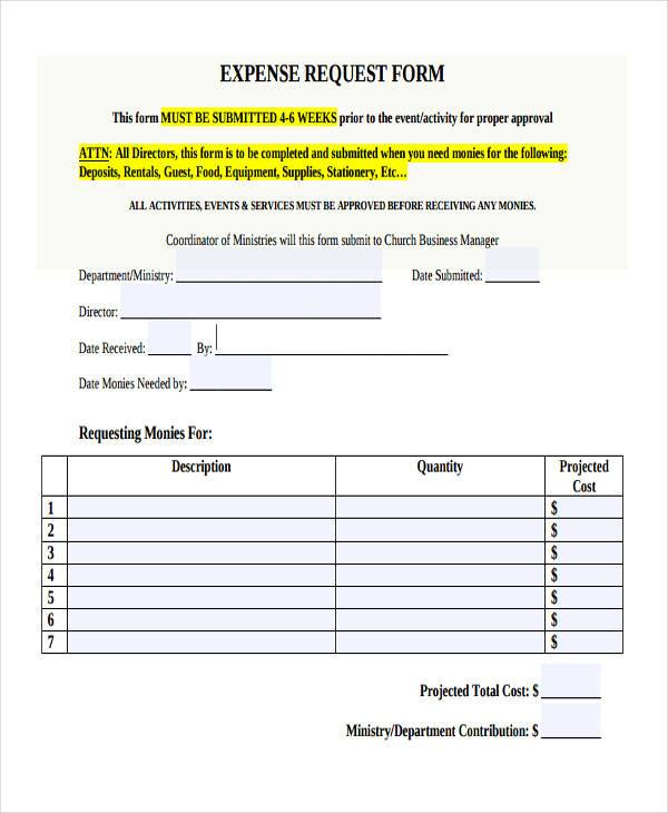 free expense request form