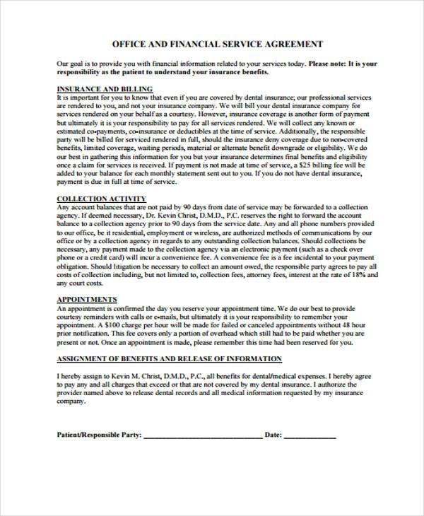 free financial service agreement form