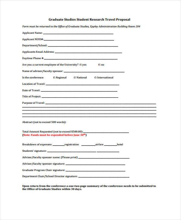 free graduate student travel proposal form