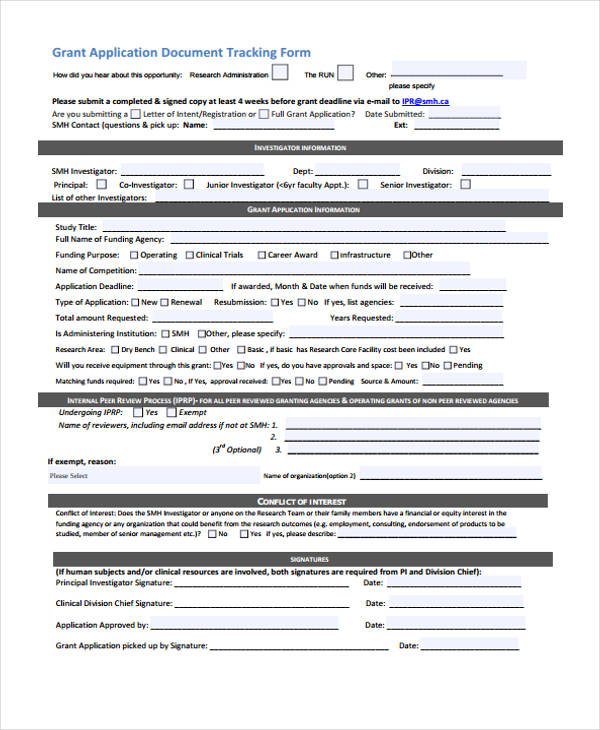free grant tracking form