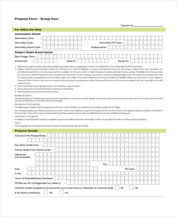 free group care proposal form