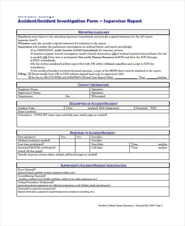 free hr incident investigation form