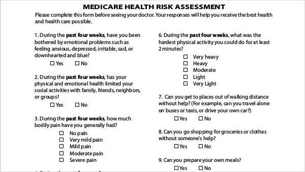 Free 40 Health Assessment Forms In Pdf Ms Word