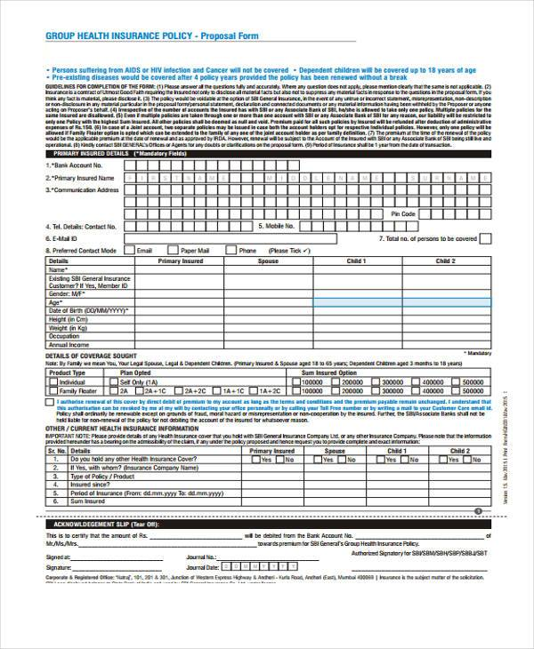free health insurance policy proposal form