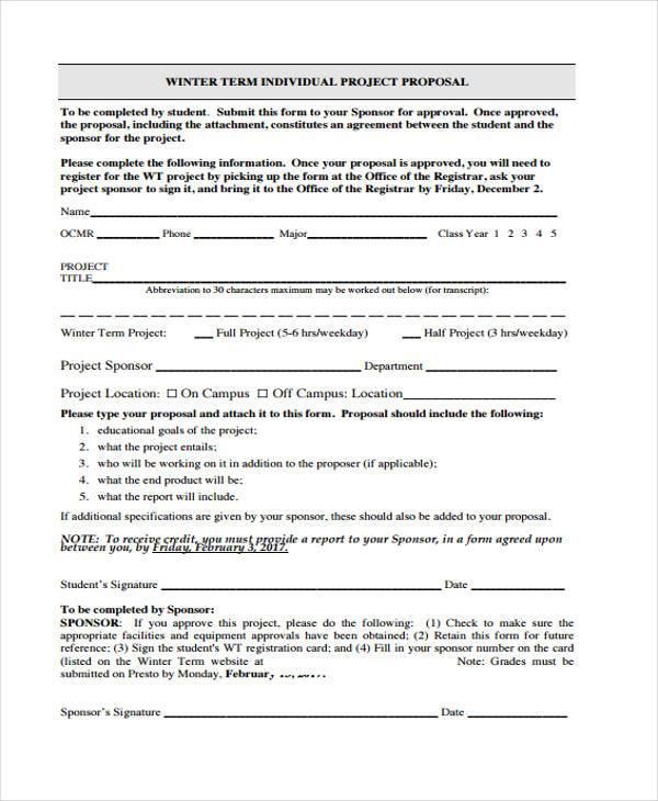 free individual proposal form