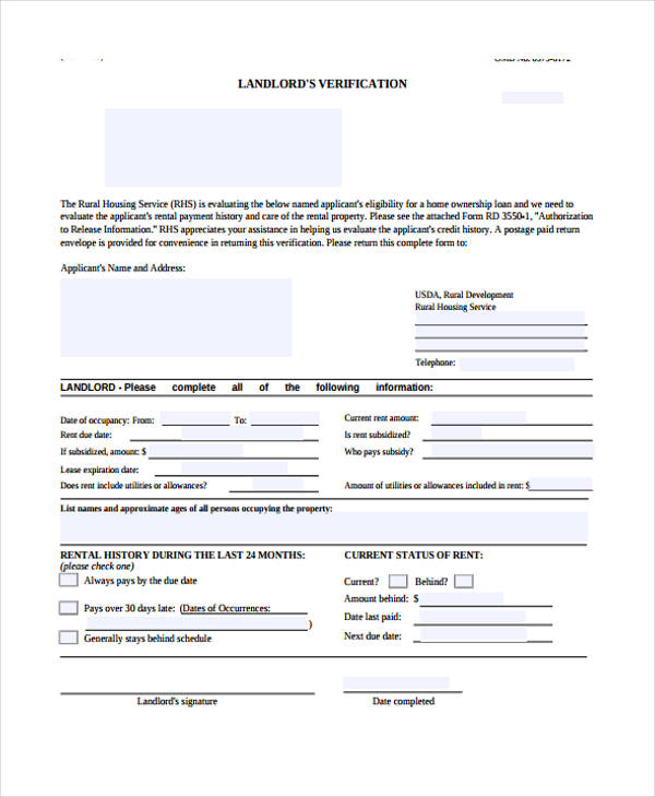 free landlord verification form