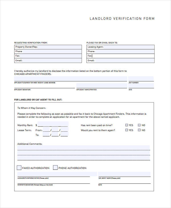 free landlord verification form2