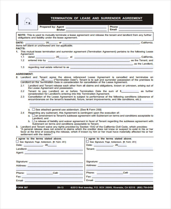 free lease termination agreement form